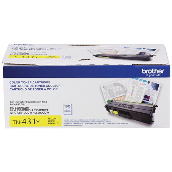 Brother TN431Y Yellow Toner Cartridge (1,800 Yield)