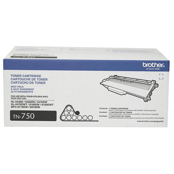 Brother TN750 Original Black High Yield Toner Cartridge (8,000 Yield)