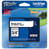 "5 X Brother (TZE241) 18mm (3/4"") Black on White Laminated Tape (8m/26.2')"