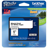 "5 X Genuine Brother (TZE251) 1"" (24mm) Black on White TZe P-touch Tape. (8m/26.2') (1/Pkg)"