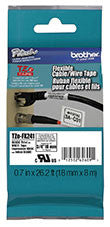 "Brother TZEFX241 Black on White Flexible ID Super Adhesive 3/4"" Industrial Tape"