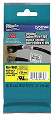 "Brother TZEFX651 Flexible ID Super Adhesive Black on Yellow 1"" Industrial Tape"