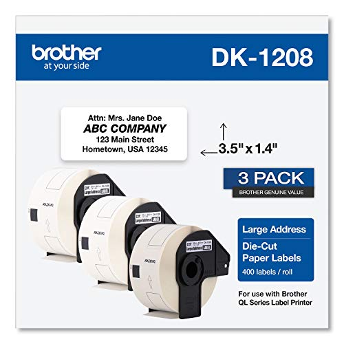 Brother Genuine DK-1208 Die-Cut Large Address Labels (3) Pack