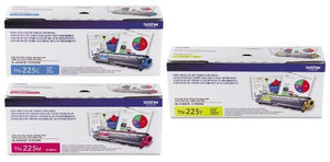 Genuine Brother TN225 (TN-225) High Yield Color (C/M/Y) Toner Cartridge 3-Pack