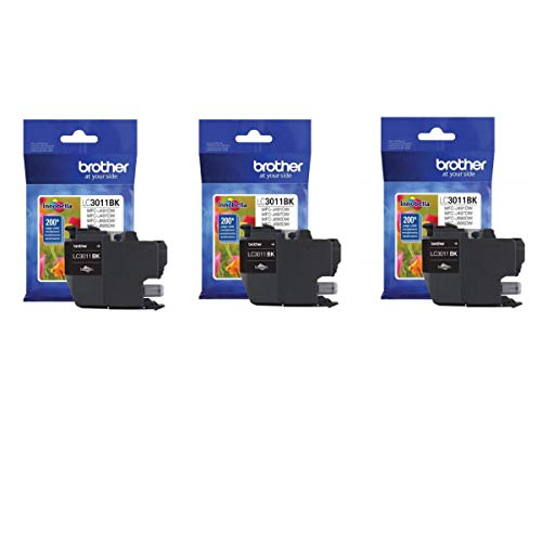 Brother Genuine LC3011BK Standard Yield Ink Cartridge (3) Pack
