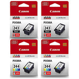 Canon PG-243 Black, CL-244 Color (4) Pack for Canon PIXMA Printers