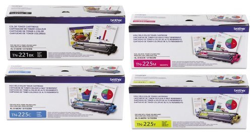 Brother TN-221BK, TN-225C, TN-225M, TN225Y Toner (4) Pack