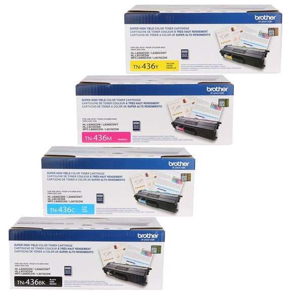 Brother TN436 BK/C/M/Y High Yield Toner (4) Pack