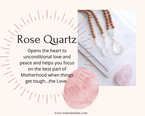 Photo of Rose Quartz Mama Mala and stone. Great for focusing on love in motherhood