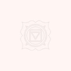 Tan coloured root chakra symbol illustration on light pink background