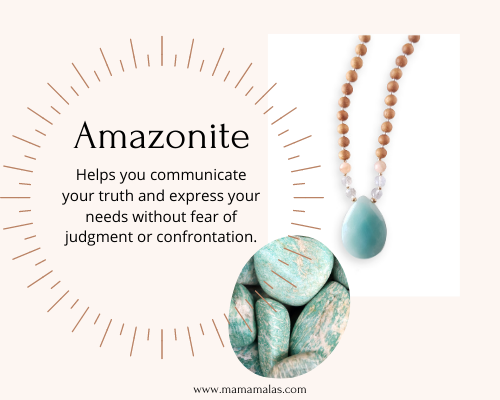 Photo of Amazonite Mama Mala and stones. Great for communication as a mom.