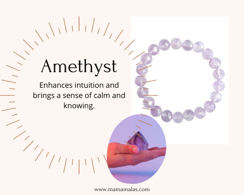 Photo of Amethyst bracelet and stone. Great for moms to connect to their intuition