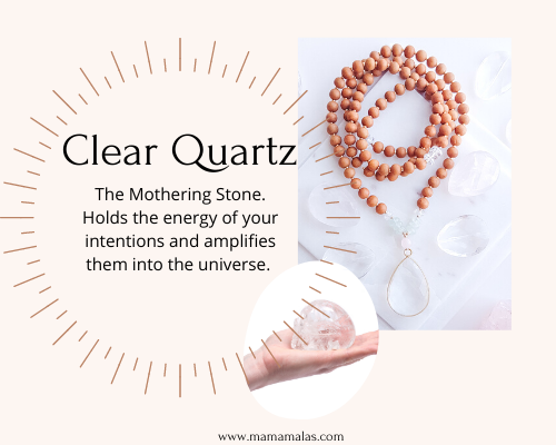 Clear Quartz Mama Mala and stone. Great for manifesting, known as the mothering stone.
