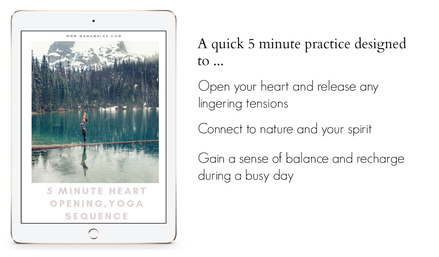 This quick 5 minute sequence will open your heart and connect you to nature and your spirit. It's the perfect routine to reset after a busy day and warm up during the cold days of winter.