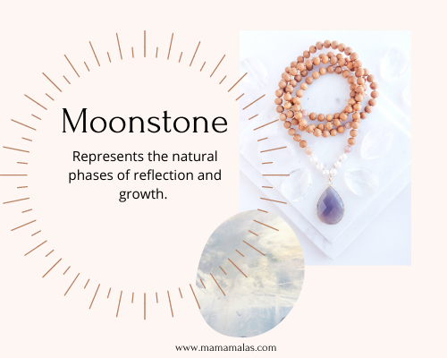 Pic of moonstone mama mala beads and stone. Great for living in flow.