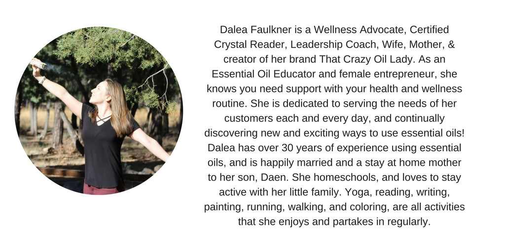Today I am so excited to share my interview with Wellness Advocate, Certified Crystal Reader, Leadership Coach, Wife, Mother, and creator of her brand That Crazy Oil Lady Dalea Faulkner. Dalea shares about how she stays present, intentional and connected in Motherhood and her most important contribution in the world.
