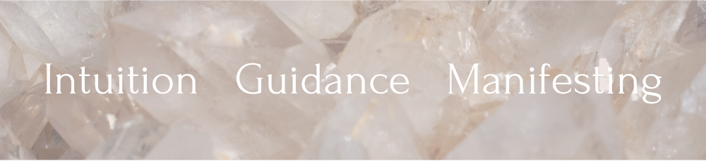 A close up of quartz crystals sparkles with the words 'Shop by Intention - Intuition Guidance Manifesting Healing Stones' written on top