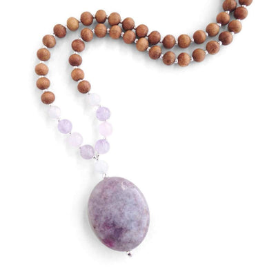 Expecting Mama Mala, Lepidolite Amethyst Rose Quartz and Moonstone Mala Beads for Pregnancy