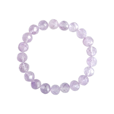 Close up image on a white background of a stretchy Amethyst mala bracelet. The bracelet is made of 8mm faceted light purple Amethyst beads.