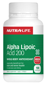 NUTRALIFE ALPHA LIPOIC ACID 200mg 100C - Natural Food Barn