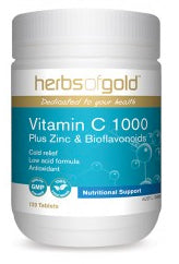 Herbs of Gold VITAMIN C 1000 PLUS ZINC 60T - Natural Food Barn