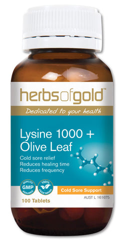 Herbs of Gold LYSINE +OLIVE LEAF 100T - Natural Food Barn