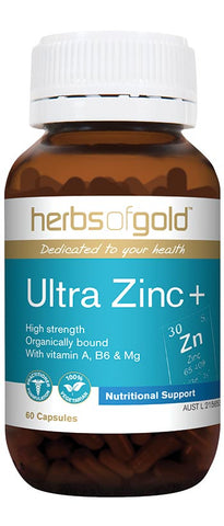Herbs of Gold ULTRA ZINC PLUS 60VC - Natural Food Barn