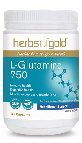 Herbs of Gold L-GLUTAMINE 750 120C - Natural Food Barn