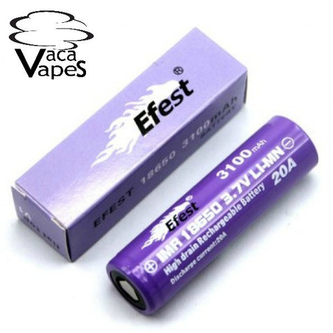 Efest Purple IMR 18650 20A 3100mAh 3.7v Purple High Drain Flat Top Batteries