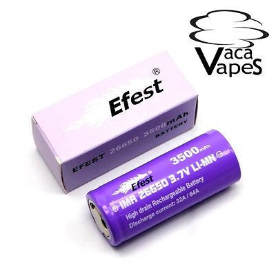 Efest Purple IMR 26650 3500mAH 64amp 4.2v Flat Top Batteries