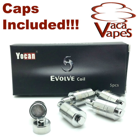 Pack of Five Replacement Quartz Dual (QDC) Coils YoCan Evolve Includes CAPS!!