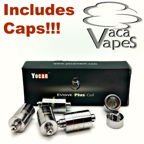 5 Pack Replacement Quartz Dual Coils (QDC) YoCan Evolve Plus Choice of With or Without Caps