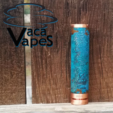 One of a Kind Forced Patina 18650 Copper Caravela Mod Clone #555