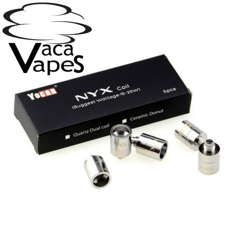 Pack of 5 Replacement Quartz Dual Coils (QDC) YoCan NYX INCLUDES CAPS