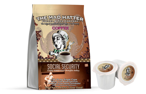 Social Security Americano CBD Coffee Pods 250 Mg Broad Spectrum Hemp-derived CBD Total, (10)- 100% recyclable pod servings per bag Enjoy tomorrow's benefits today! An artisanal blend of herbs, spices, Chili Peppers, and Chocolate makes this unique CBD Coffee, beneficially active. 25mg Broad Spectrum CBD per serving. CONTAINS SOY. MAY CONTAIN WHEAT & EGGS. U.S grown Hemp. Third-Party Lab Tested. Does not contain THC. Compatible with Keurig Machines. 100% recyclable.