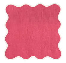 Load image into Gallery viewer, Linen Scalloped Square | Hibiscus Pink
