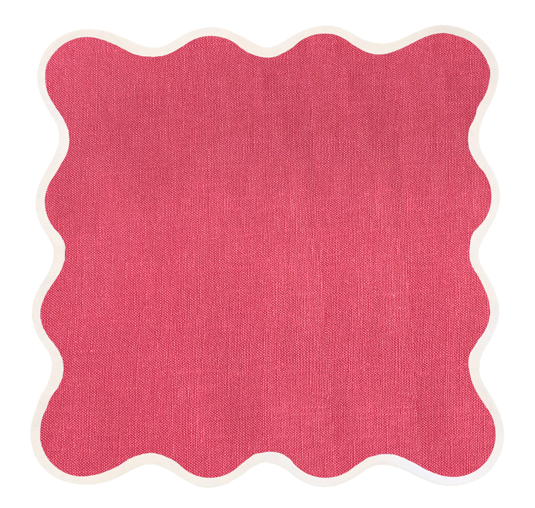 Linen Scalloped Square | Hibiscus Pink
