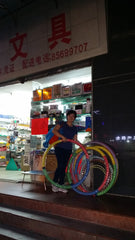 Found some hula hoops selling outside a shop.