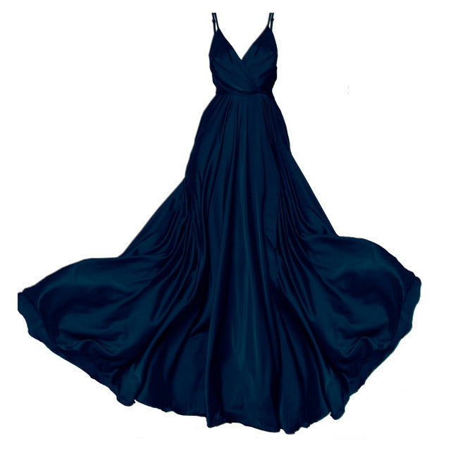 Navy Blue Satin Long Dress