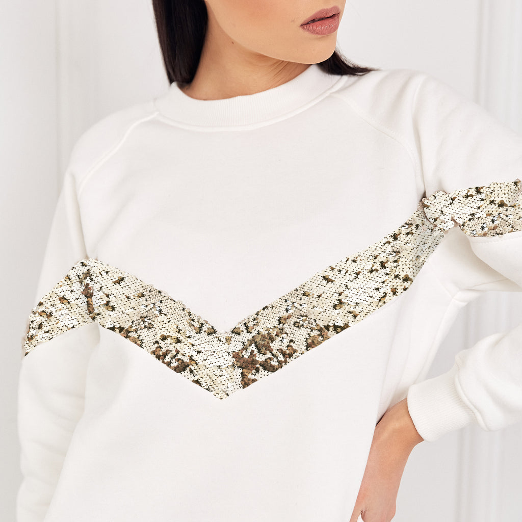 ivory sequined tracksuit