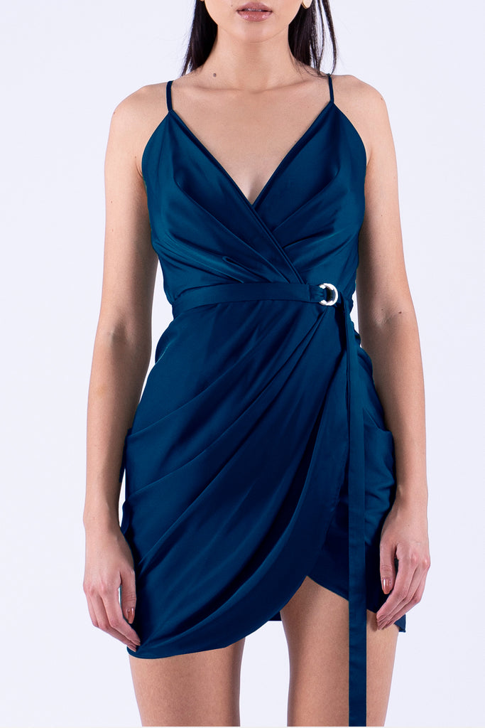 Navy Blue Summer Mini Satin Dress