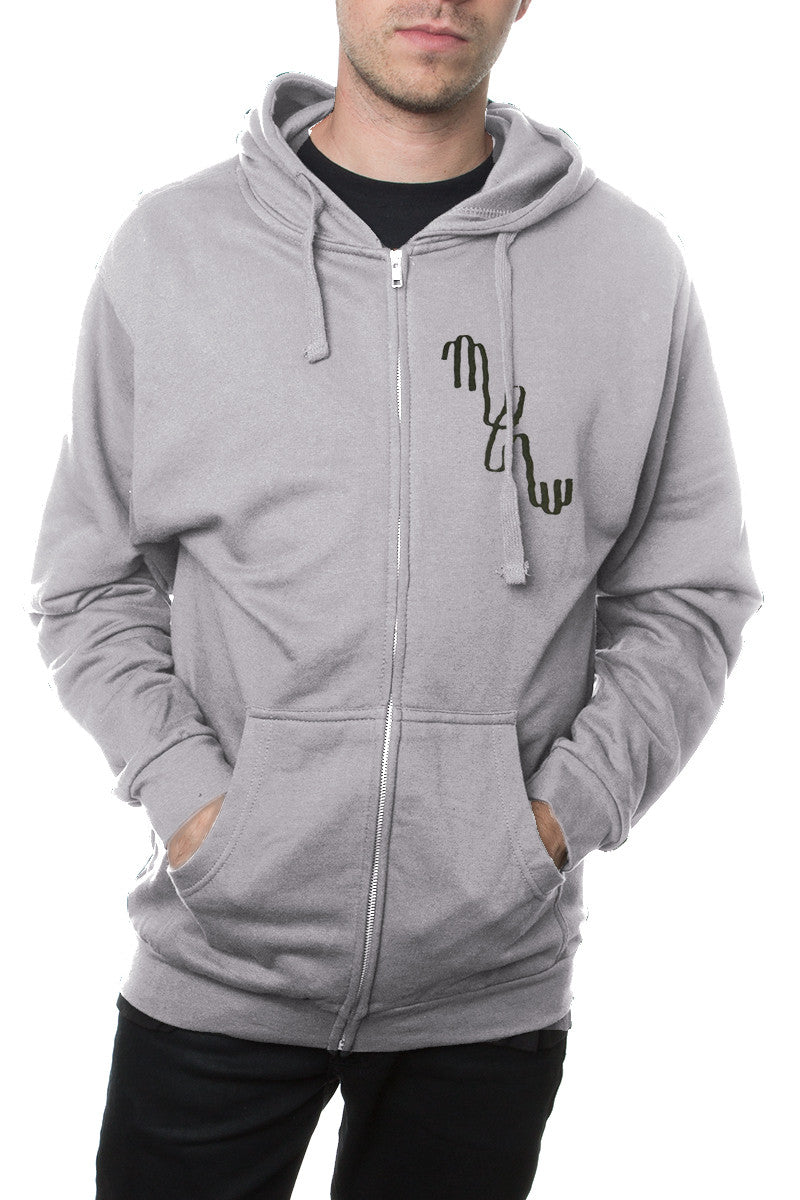Mew Logo Zip Hoodie Heather Grey