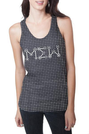 Mew Symbols Racerback Tank Heather Charcoal