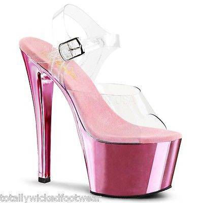 "Sky 308 Baby Pink Chrome Platform Shoe 7"" Heels - Totally Wicked Footwear"