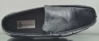 Winston Mens Slip On Black White Brown Moccasin driving shoes loafers COMFORT