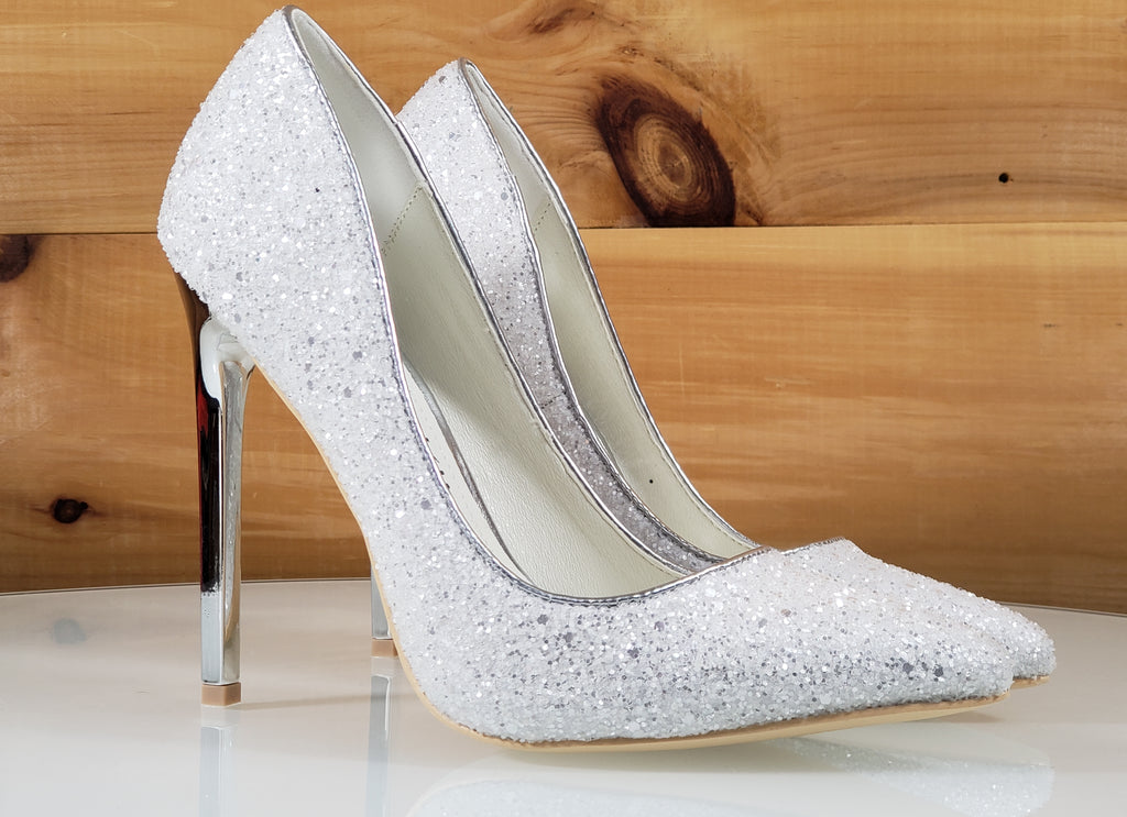 "Mac J White Silver Glitter Pointy Toe Pump - 4.75"" High Heel Shoes"