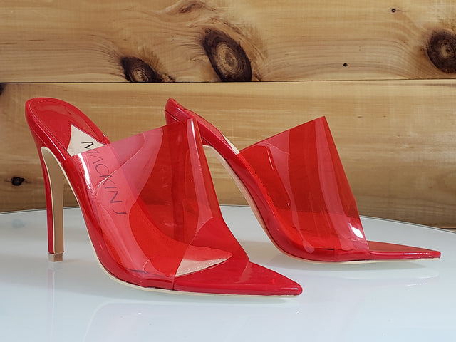 "Transparent Red Slip On Shoe - 4.5"" High Heel"