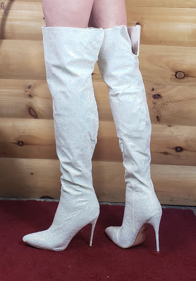 White Thigh High Boots