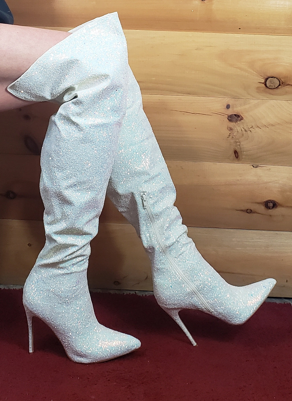 "3015 Thigh High Boots White Multi Glitter 5"" Stiletto Heel 6 - 14"