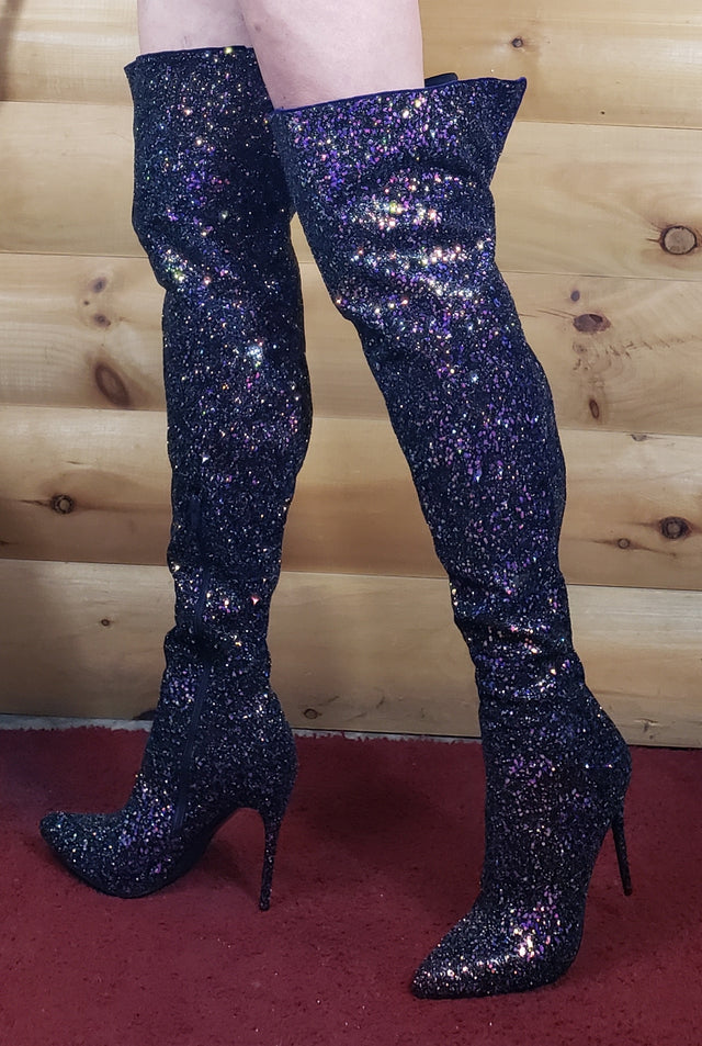 3015 Thigh High Boots 5 Inch Heels 6 - 14 Black Multi Glitter